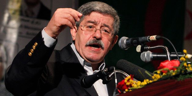 Ahmed Ouyahia, prime minister of Algeria and leader of Rally for National Democracy (RND), gives a speech...