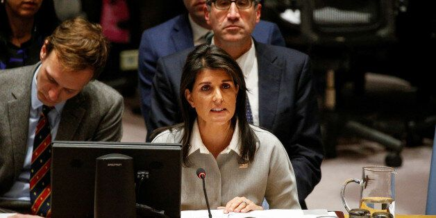 United States ambassador to the United Nations Nikki Haley addresses the U.N. Security Council meeting...