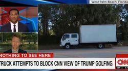 Un mystérieux camion empêche les journalistes de filmer Donald Trump au