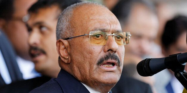 Yemen's former President Ali Abdullah Saleh addresses a rally held to mark the 35th anniversary of the...
