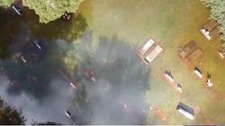 Απίστευτες εικόνες από drone: Δεκάδες φέρετρα βρέθηκαν να επιπλέουν στο