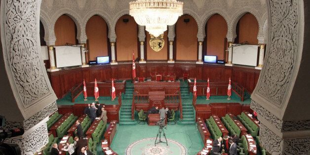 TUNIS, TUNISIA - JANUARY 11: Tunisian MPs take part in a session at the assembly of the representatives...