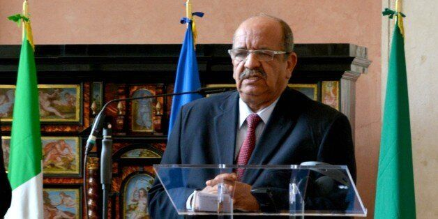 ROME, ITALY - ARPIL 08: Algerian Maghreb and African Affairs Minister Abdelkader Messahel holds a tripartite...