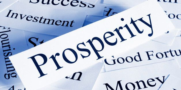 A conceptual look at prosperity with associated words, blue