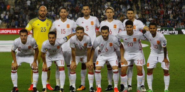 L'équipe espagnole de football lors d'un match de qualification à la Coupe du monde 2018 contre Israël,...