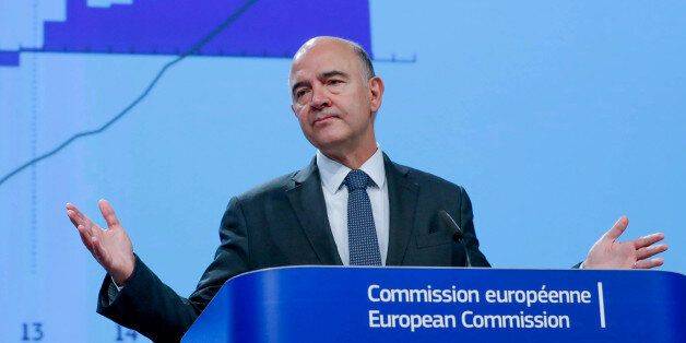 European Commissioner for Economic and Financial Affairs Pierre Moscovici presents the EU executive's...