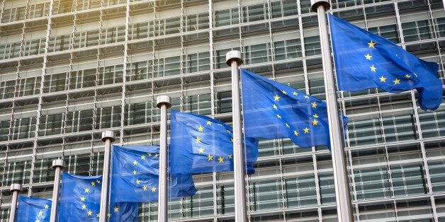 European Union flags in front of the Berlaymont building (European commission) in Brussels,
