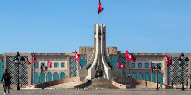 Tunis, Tunisia - December 27, 2016: Public square of Tunis, national monument and city hall,