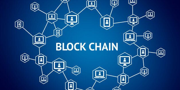 Blockchain network concept , Distributed ledger technology , Block chain text and computer connection...