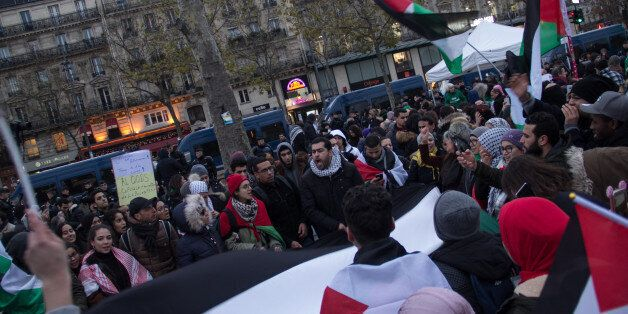 Demonstrators protesting against Trump's decision to move American embassy to Jerusalem in Paris on December...