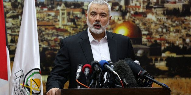Hamas leader Ismail Haniya gestures as he delivers a speech over US President Donald Trump's decision...