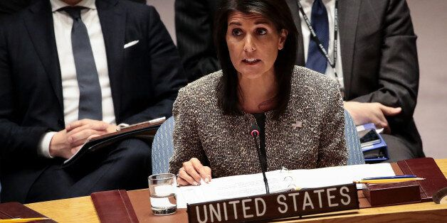 NEW YORK, NY - NOVEMBER 29: Nikki Haley, U.S. ambassador to the United Nations, speaks during an emergency...