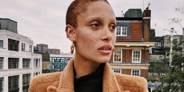 Model Adwoa Aboah arrives for the presentation of the Burberry collection during London Fashion Week...