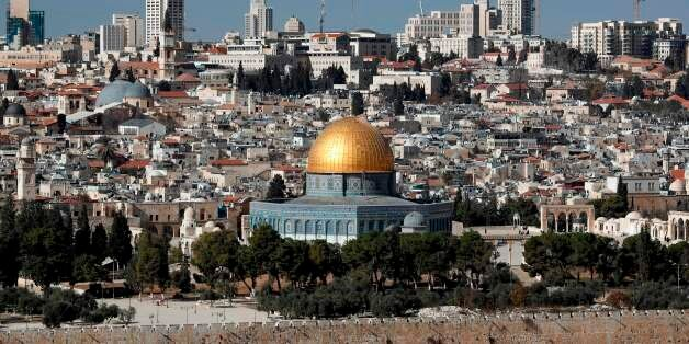 A picture shows the Dome of the Rock mosque and a general view of Jerusalem on December 1, 2017. US President...