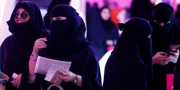 Saudi women take part in Glowork exhibition in Riyadh, Saudi Arabia September 28, 2017. Picture taken...