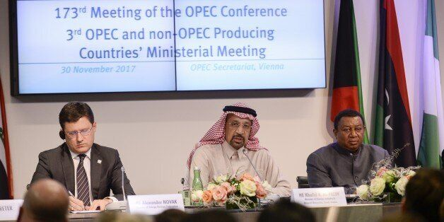 VIENNA, AUSTRIA - NOVEMBER 30: Secretary General of OPEC, Mohammed Barkindo (R), Russia Energy Minister...