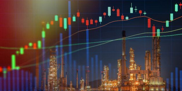 Stock market concept with oil refinery industry background,Double