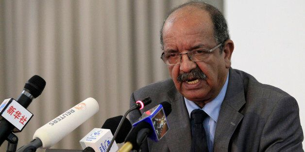 Algeria's Minister of African and Maghreb Affairs Abdelkader Messahel speaks during a news conference...