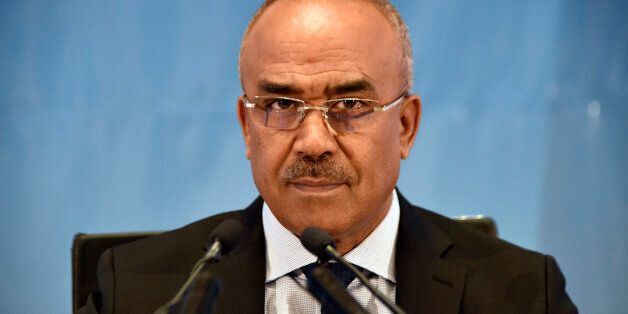 Algerian Interior Minister Noureddine Bedoui announces the results of local elections in the capital...