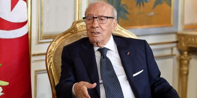 Tunisian President Beji Caid Essebsi meets the European Parliament chief on October 31, 2017 in Carthage...