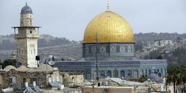 JERUSALEM - DECEMBER 06: A view of Qubbat al-Sakhrah (Dome of the Rock) at Al Aqsa Mosque Compound is...