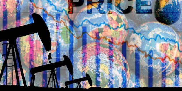 silhouette industrial oil pump jack and falling oil graph on the blue globe background with the word...