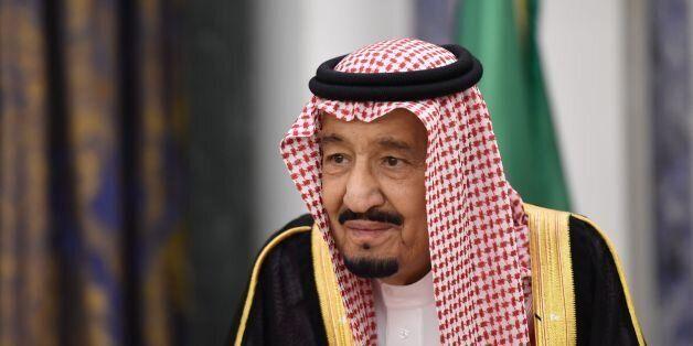 Saudi's King Salman bin Abdulaziz al-Saud waits for Lebanon's Christian Maronite patriarch prior to their...