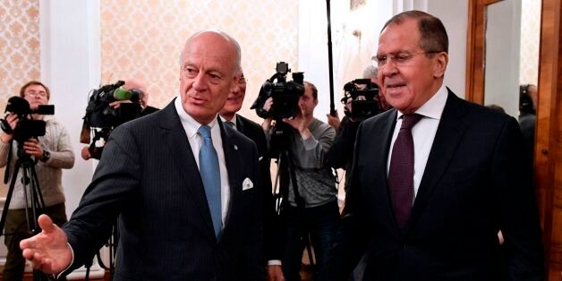 Russian Foreign Minister Sergei Lavrov (R) meets with UN Special Envoy for Syria Staffan de Mistura in...