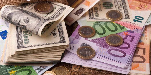 Paper money euro dollar banknotes coins