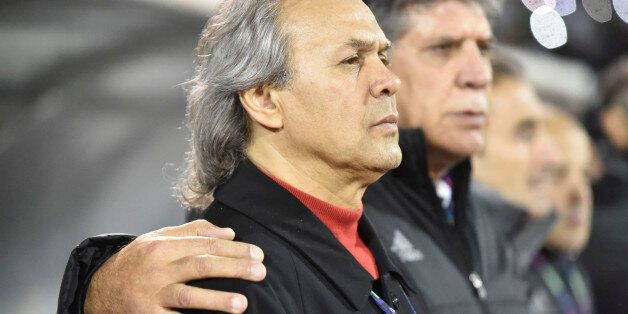 Rabah Madjer coach of Algeria football team looks on during a World Cup 2018 qualifying football match...