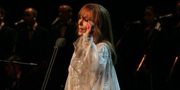 Lebanese diva Fairuz performs at the Arad Fort in Manama late March 12, 2008. Fairuz's recitale in the...