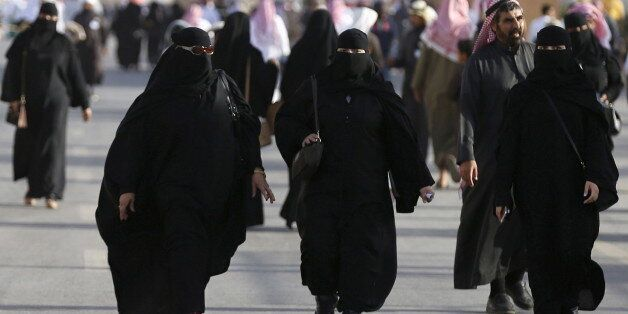 Saudi women arrive to attend Janadriyah Culture Festival on the outskirts of Riyadh, Saudi Arabia February...