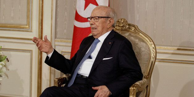 President Beji Caid Essebsi meets with Prime Minister-designate Youssef Chahed (not pictured) in Tunis,Tunisia...