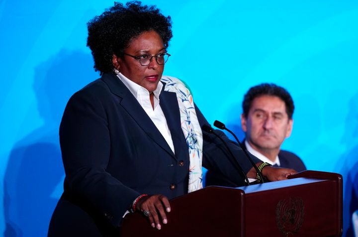 Barbados Prime Minister Mia Mottley warns of the global effects of the climate crisis in her speech before the United Nations