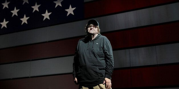 Michael Moore poses for a portrait at the site of his one-man Broadway show at the Belasco Theatre in...