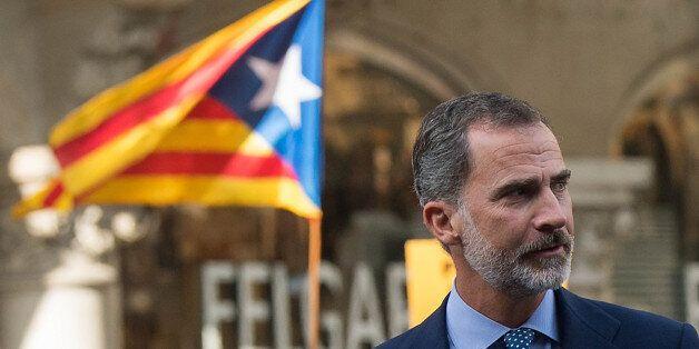 BARCELONA, SPAIN - AUGUST 26: King Felipe VI of Spain arrives to a demonstration against the last week's...