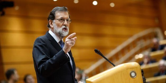 Spain's Prime Minister Mariano Rajoy gives a speech during a session of the Upper House of Parliament...
