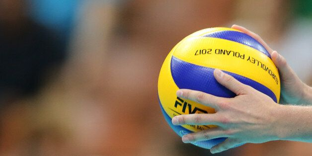 Official ball 'Eurovolley 2017' during Volleyball European Championships match between France and Turkey...