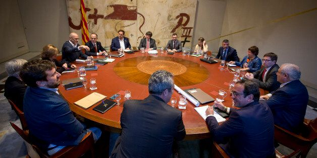 The President of the Catalan Government, Carles Puigdemont, presides over the meeting of the Generalitat's...