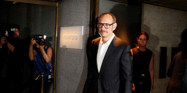 Terry Richardson arrives to attend a presentation of Tom Ford's Autumn/Winter 2016 collections during...
