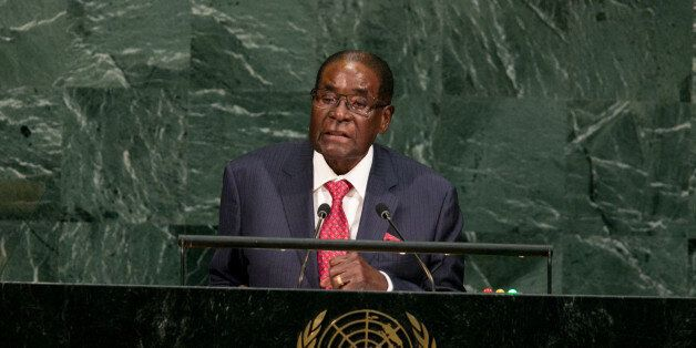 NEW YORK, NY - SEPTEMBER 21: Zimbabwe's President Robert Gabriel Mugabe addresses the U.N. General Assembly...