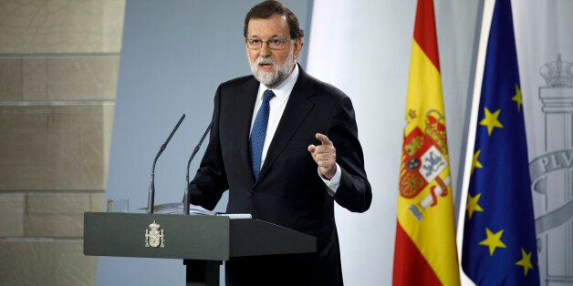 MADRID, SPAIN - OCTOBER 21: Spanish Prime Minister Mariano Rajoy speaks during a press conference after...