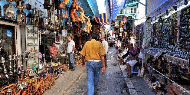 Medina in the historic heart of Tunis, since 1979 registered as World Heritage of Unesco, Alley souk...
