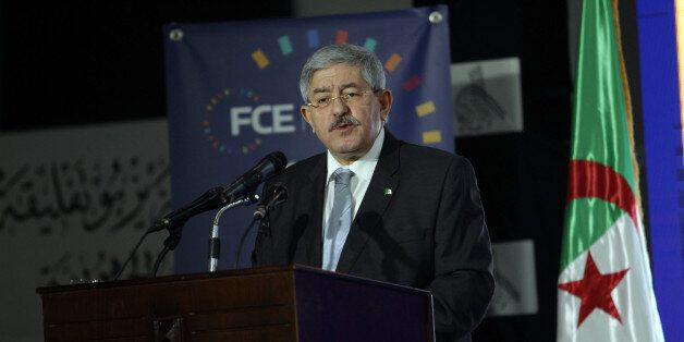 Prime Minister Ahmed Ouyahia speaks at the opening of the third edition of the University of the Forum...