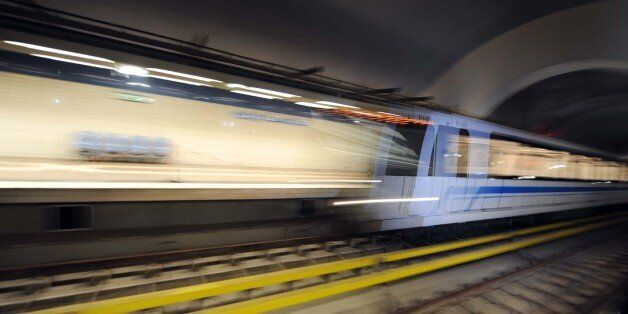 A test ride on September 8, 2011 in the new underground in Algiers. The subway network will be officially...