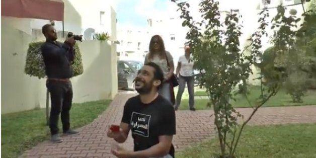 L'acteur et animateur télé tunisien Bilel Beji surprend sa bien-aimée avec une demande en mariage surprise...