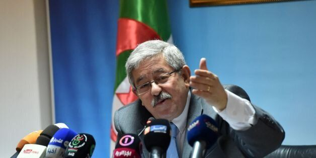 Secretary General of Rally for National Democracy (RND) Ahmed Ouyahia gives a press conference at the...