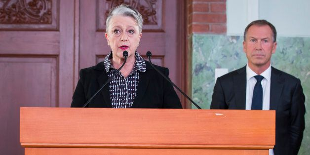 The chairwoman of the Norwegian Nobel Committee Berit Reiss-Andersen, announces on October 06, 2017 in...