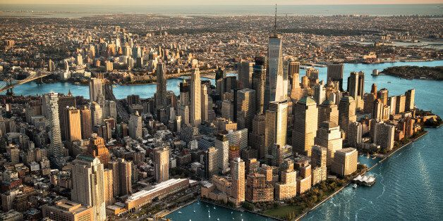 Helicopter point of view of Manhattan island in New York