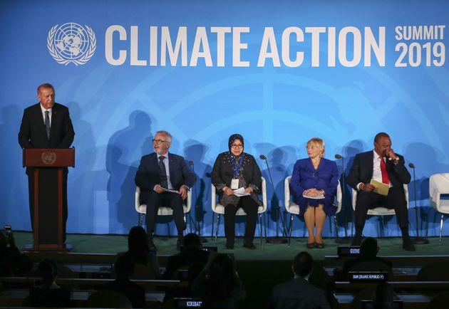 Turkey's President Recep Tayyip Erdogan speaks at the UN Climate Action Summit in New York City, Sept....